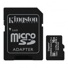 microSDHC карта 16Gb Kingston Canvas Select Plus class10 UHS-I U1 V10 A1 + SD-адаптер (SDCS2/16Gb)