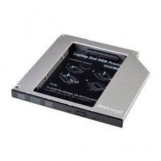 Адаптер підключення Grand - X HDD 2,5  у відсік приводу ноутбука, SATA2/SATA3 Slim 9,5mm (HDC-24С)