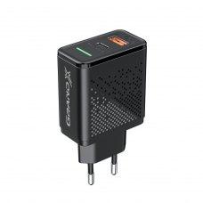 Мережевий зарядний пристрій Grand-X Power Delivery 6-in-1 PD 3.0, QС3.0, AFC,SCP,FCP,VOOC 1USB+1TypeC 18W CH-880
