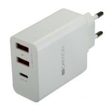 Мережевий зарядний пристрій CANYON CNE-CHA08W 2xUSB 2.4A PD White (CNE-CHA08W)
