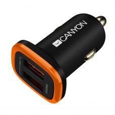 Автомобільний зарядний пристрій CANYON CNE-CCA02B 2xUSB 2.1A Black-Orange (CNE-CCA02B)