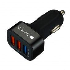 Автомобільний зарядний пристрій CANYON CNE-CCA07B 3xUSB 2.1A, QC3.0, Black (CNE-CCA07B)