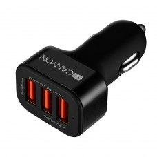 Автомобільний зарядний пристрій CANYON CNE-CCA06B 3xUSB 3.1A Black-Orange (CNE-CCA06B)