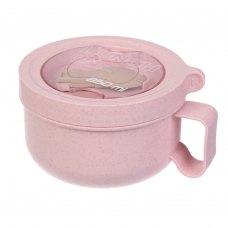 Ланч бокс супниця в формі чашки з екоматеріала, рожевий 850 мл