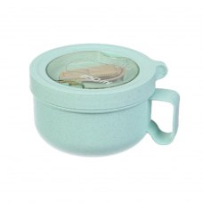 Ланч бокс супниця в формі чашки з екоматеріала, бірюзовий 850 мл