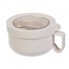 Ланч бокс супниця в формі чашки з екоматеріала, бежевий 850 мл