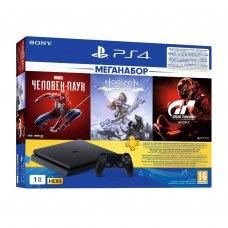 Ігрова приставка PlayStation 4 1Tb Чорна (Spider Man & Gran Turismo & Horizon Zero Dawn + підписка PSPlus на 3 місяці)