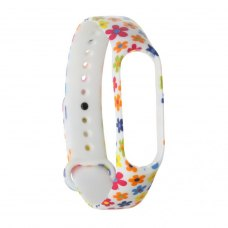 Браслет для Xiaomi Mi Band 5 (silicone) White with flowers