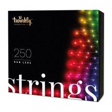 Smart LED Гірлянда Twinkly Strings RGB 250, BT+WiFi, Gen II, IP44 кабель чорний