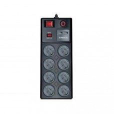 Мережевий фільтр, 3м, 8 розеток, REAL-EL RS-8F USB CHARGE (EL122300004), чорний