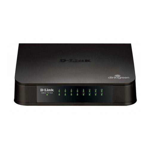 Комутатор мережевий D-Link DES-1016A 16x10/100TX, Пластик
