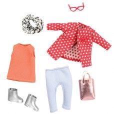 LORI Набір одягу для ляльок - Червоне пальто з візерунком