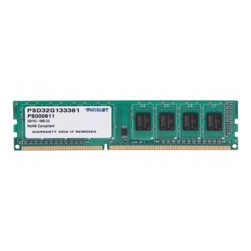 Модуль памяті DDR3 Patriot 2048Mb (PSD32G133381/PSD32G13332 ) 1333MHz, PC3-10600, CL9, (9-9-9-28), 1.5V, Signature Line