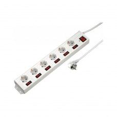 Мережевий продовжувач Hama 6+1 1.4м 6 розеток White (00137239) з окремим увімкненням кожної розетки