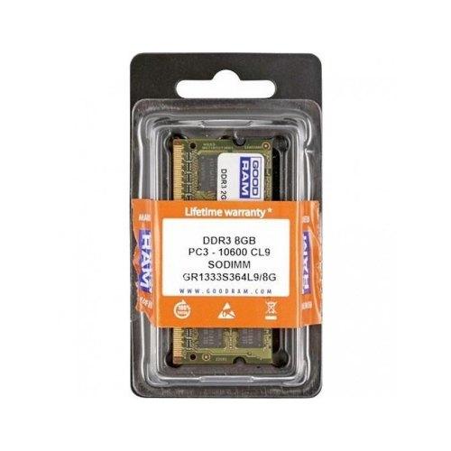 Модуль памяті SoDIMM DDR3 GoodRam 8192Mb (GR1333S364L9/8G) 1333MHz, PC3-10600, CL9, 1.5V, (Kit:1x8192MB)