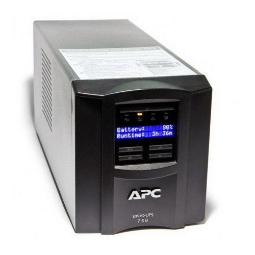 Пристрій безперебійного живлення APC Smart-UPS 750VA LCD (SMT750I) line interractive, Класичний, 750 В*А, 500 Вт, 151 до 302 В, синусоїда, 4.5 мін, 6/