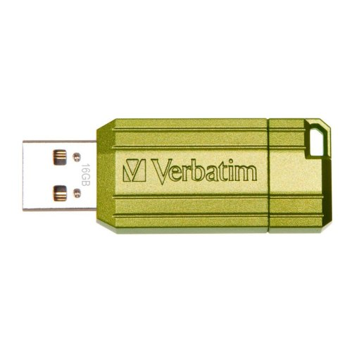 USB флеш 16Gb Verbatim StorenGo PinStripe Green (49070)