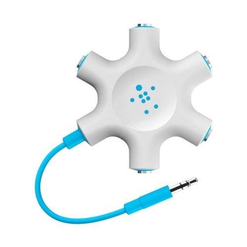 Разветвитель для наушников BELKIN (jack 3.5мм/jack 3.5мм x5) Rockstar, Blue