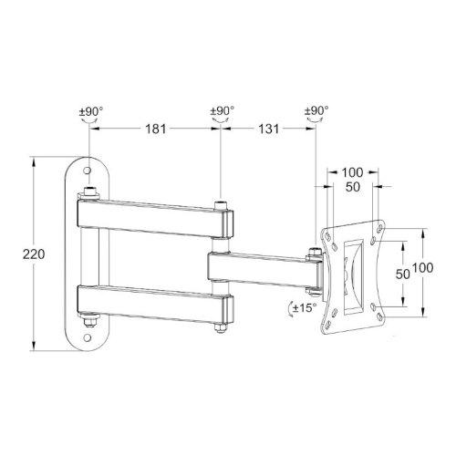 Кронштейн Walfix R-280B 15 - 25 VESA: 100x100