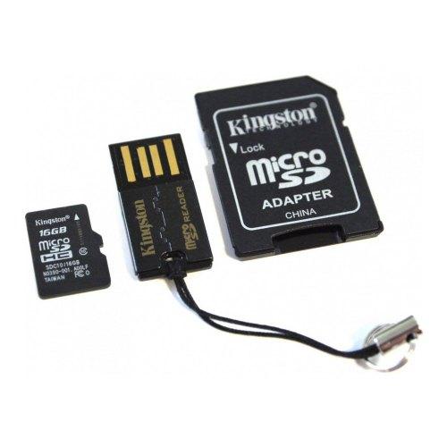 карта памяти KINGSTON microSDHC 16GB Class 10 +SD adapter +USB reader