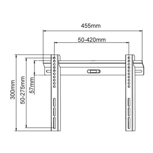 Кронштейн настінний X-DIGITAL PLB114S 32-60, 0, 80кг, 22мм, металік, 2.1кг, нерегуюєме