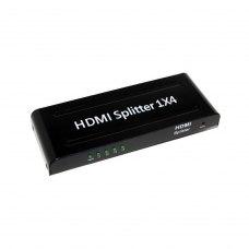 Відео спліттер HDMI-1х4, VER 1.4, Splitter відео-розгалужувач HDMI на 4 порта, підтримка UHD 4K 3D, з БЖ