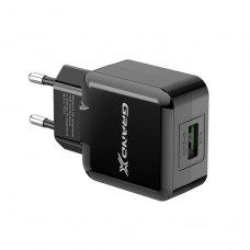 Мережевий зарядний пристрій Grand-X CH-03 (USB 5V, 2.1A), color Black (CH-03B)