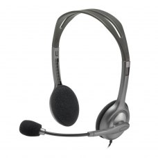 Наушники Logitech H111 Stereo Headset (981-000593) VoIP и мультимедиа, гарнитура, проводное, накладные, дуга над головой, штекер 3.5 мм, 2, 32 Ом, 20