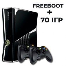 Ігрова консоль Microsoft XBOX 360 Slim 500GB 2 джойстика + FREEBOOT + 70 ігр