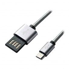 Кабель Grand-X USB-micro USB FM02 2,1A, 1m, Grey/Black